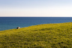 Grass and sea. Stock Photo