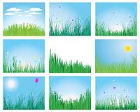 Grass set. Set of vector grass silhouettes backgrounds for design use Royalty Free Stock Photo