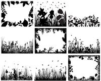 Grass set. Set of vector grass silhouettes backgrounds for design use Stock Image