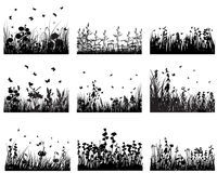 Grass set. Set of vector grass silhouettes backgrounds for design use Stock Photo