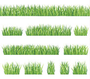 Grass set. Grass border background set. Summer icon and seamless frame collection Royalty Free Stock Photography