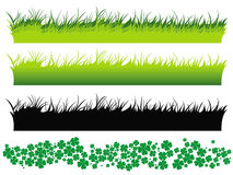 Grass set and clover set. This image represents 3 different sets of grass isolated on white and one isolated set with clover Royalty Free Stock Images
