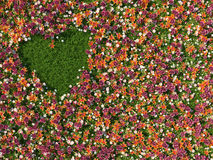 Grass in the shape of heart on the background of flowers Stock Photo