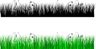 Grass silhouette in color and black Stock Photos