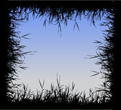Grass silhouette frame Stock Photography
