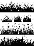 Grass silhouette set. Set of black grass silhouette on white background Stock Image