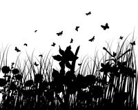 Grass silhouettes. Vector grass silhouettes backgrounds with butterflies Royalty Free Illustration