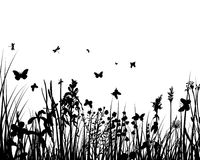 Grass silhouettes. Vector grass silhouettes backgrounds with butterflies Stock Illustration