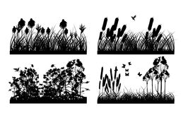 Grass silhouettes backgrounds Stock Photos