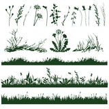 Grass. Silhouettes of decorative elements of grass and twigs Royalty Free Stock Photo