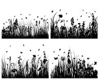 Grass silhouettes set. Vector grass silhouettes backgrounds set for design use Royalty Free Illustration
