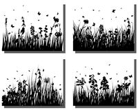 Grass silhouettes set. Set of four vector grass silhouettes backgrounds Royalty Free Illustration