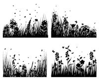 Grass silhouettes set. Set of four vector grass silhouettes backgrounds Vector Illustration
