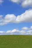 Grass and Sky. Grass hillside against a blue sky with alto cumulus clouds Stock Photography