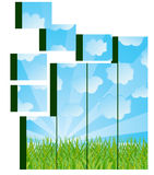 Grass and sky image on cubes Royalty Free Stock Photography