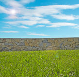 Grass, sky and wall. Blue sky behind a wall in a garden Stock Photography