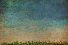 Grass and sky watercolor,Vintage style Royalty Free Stock Photo