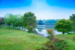 Grass slope-Nanchang Mei Lake Scenic Area. Nanchang Mei Lake scenic spot in detail, refined garden, curved Pavilion, platform and other types of gardens royalty free stock images