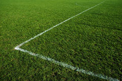 Grass soccer field. Detail of white line corner on the grass soccer field Royalty Free Stock Photo