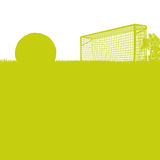 Grass and soccer field with soccer Stock Images