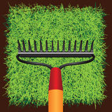 Grass sod and Garden rakes Stock Images