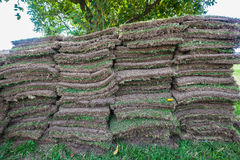 Grass Sods Pieces Stacked. Grass sods square cuts stacked ready for placing or planting.Close-up photo of layers or square pieces of grass and soil Royalty Free Stock Photo
