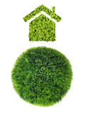 Grass sphere and house Royalty Free Stock Images