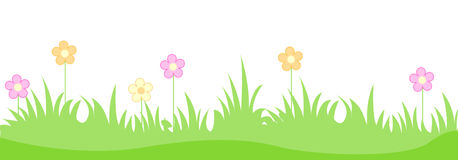 Grass with spring flowers Royalty Free Stock Photo