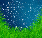 Grass and stars background Royalty Free Stock Photography