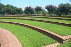 Grass steps at outdoor amphitheater royalty free stock photo