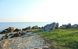 Grass, stone, rocks, in the beach with blue sky in Indonesia