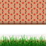 Grass stripe down with blank place and red pattern  Royalty Free Stock Photo