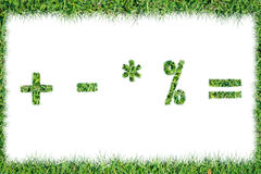 Grass symbols Quotients positive remove multiply division Stock Photo