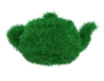 Grass teapot. Teapot covered green grass on white background Royalty Free Stock Image