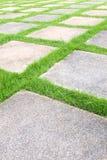 Grass tiles walk way Royalty Free Stock Photography