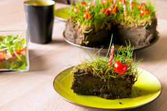 Grass and tomatoes on cake. An improvised garden cake made from ground, grass, candles and cherry tomatoes Stock Photo