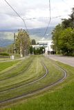 Grass Tram Way. In Grenoble, France royalty free stock photos