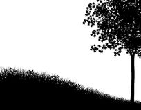 Grass and tree. Editable vector silhouette with grassy bank and maple tree as separate elements Stock Photography