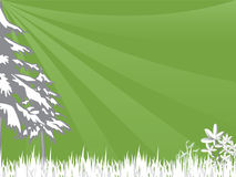 Grass and trees. Vectorized image of grass and trees, with sunbeams streaking in Stock Photo