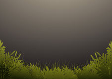 Grass and trees on dark green background Royalty Free Stock Image