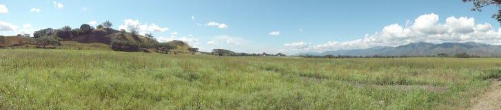 Campo abierto panoramica; open heaven in the farm. Grass trees field green blue nubes paisaje campo farm finca cultivo montains silvestre valle valley plano stock photos