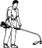 Grass Trimmer. Line Art Illustration of a Grass Trimmer Stock Photo