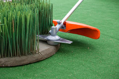 Grass trimmer mowing Stock Photos