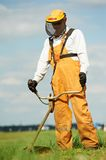 Grass trimmer works Royalty Free Stock Photo