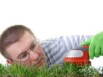 Grass trimming Stock Images