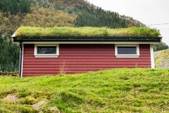Grass turf used as roofing material on Norwegian stable. Grass and turf used as roofing material on Norwegian homes and stable stock photos