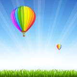 Grass And Two Hot Air Balloons Stock Photos