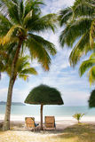 Grass umbrella and chairs on beach Royalty Free Stock Photos
