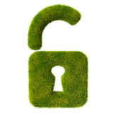 Grass unlocked lock icon Stock Images