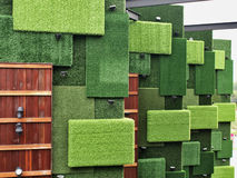 Grass wall. Walls made of artificial Turf. Stacked layers Royalty Free Stock Photos